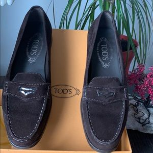 Tod's suede slip on shoes